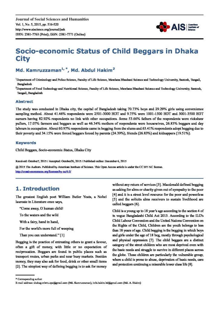 Socio-economic Status of Child Beggars in Dhaka City | CSC