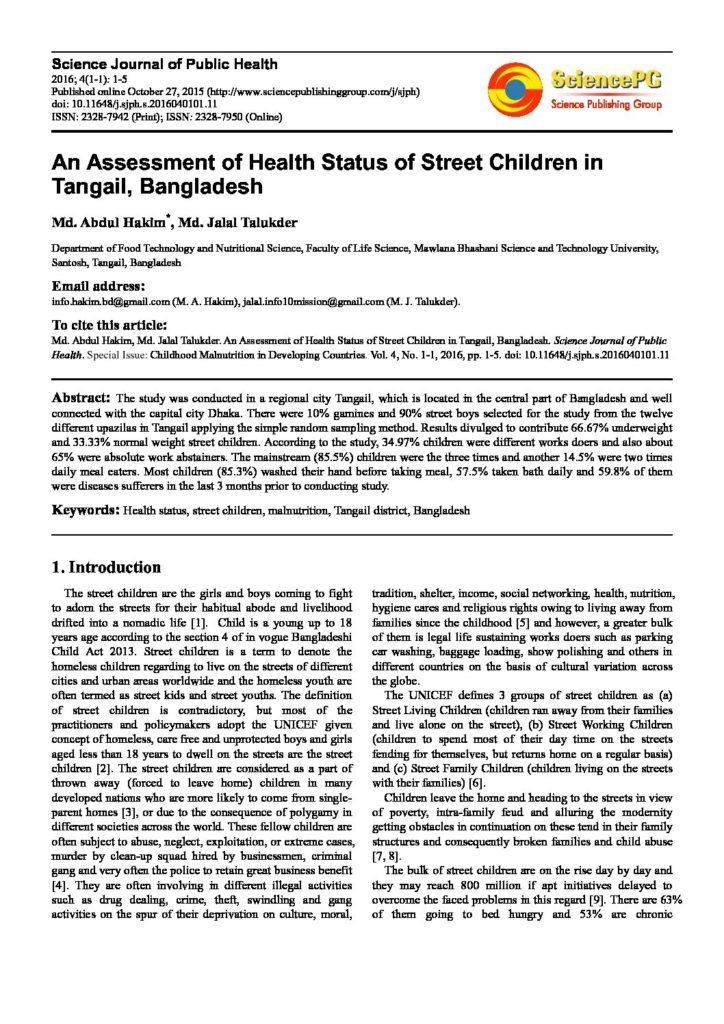 An Assessment of Health Status of Street Children in Tangail